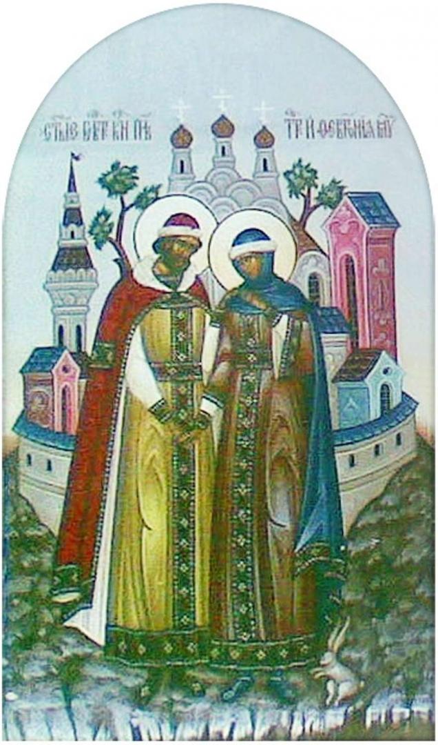 Святые Пётр и Февронья. Фреска муромского Спасо-Преображенского монастыря