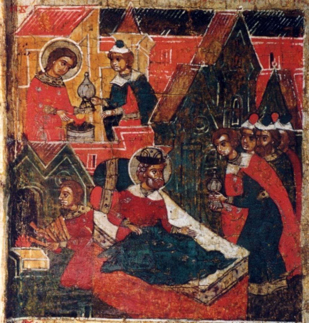 Феврония передает сосуд со снадобьем и объясняет, как получить исцеление. Фрагмент иконы XVII в