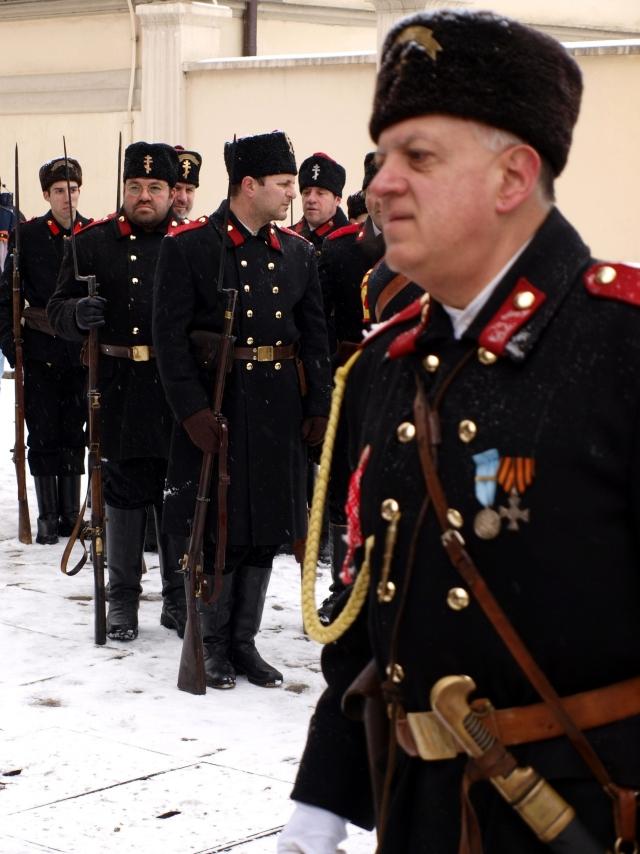 Болгарские реконструкторы в форме ополченцев