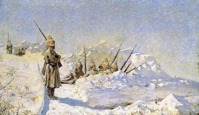 Василий Верещагин Снежные траншеи (Русские позиции на Шипкинском перевале). 1878-91 гг