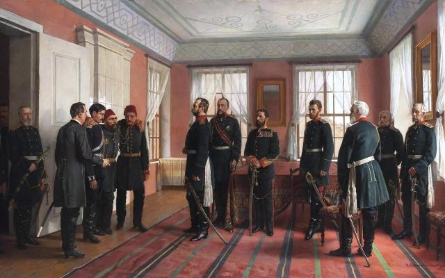 Николай Дмитриев-Оренбургский. Представление пленного Осман-паши Александру II, в день взятия Плевны русскими войсками 29 декабря 1877 года. 1898 год