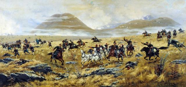 Алексей Кившенко. Нижегородские драгуны, преследующие турок по дороге к Карсу. 1892 год