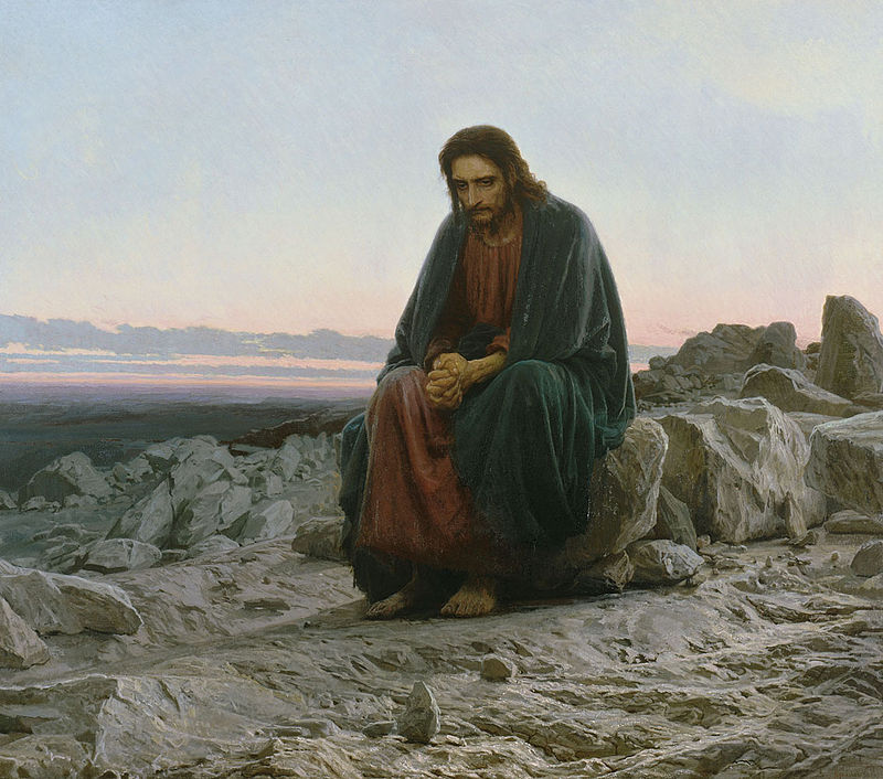 Иван Крамской. Христос в путсыне. 1872