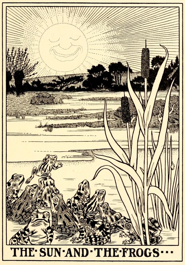 Перси  Дж. Биллингхерст. Иллюстрация к басне Жана де Лафонтена «Солнце и лягушки». 1899