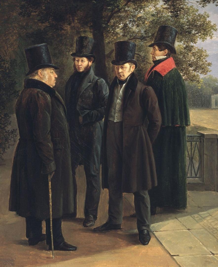 Чернецов Григорий. Крылов, Пушкин, Жуковский и Гнедич в Летнем саду. 1832