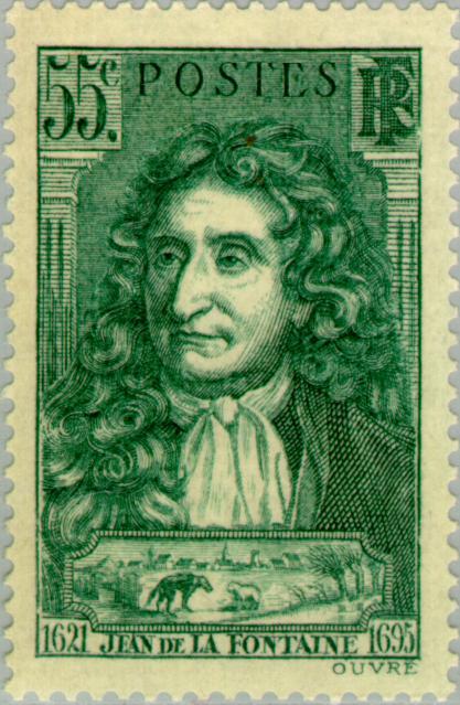 Почтовая марка с портретом  Жана де  Лафонтена
