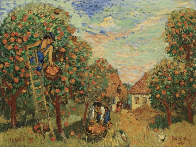 Давид Давидович Бурлюк. Сбор яблок. 1930