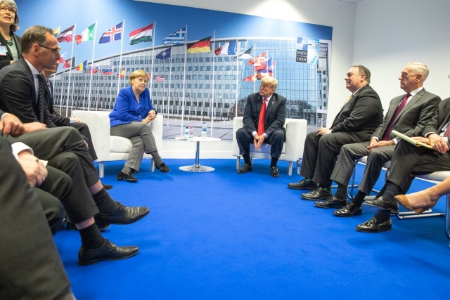 Ангела Меркель и Дональд Трамп. Саммит стран блока НАТО. 11.07.2018