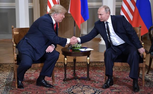 Встреча Президента Российской Федерации Владимира Путина с Президентом Соединённых Штатов Америки Дональдом Трампом. Хельсинки. 2018