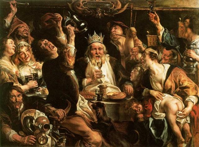 Якоб Йорданс. Король пьет. 1638 (Свита короля)