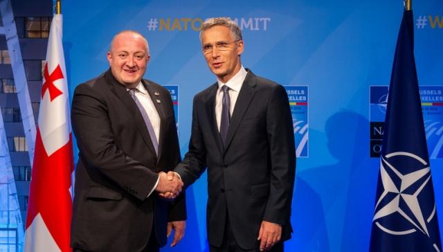 Президент Грузии Георгий Маргвелашвили и Генеральный секретарь НАТО Йенс Столтенберг