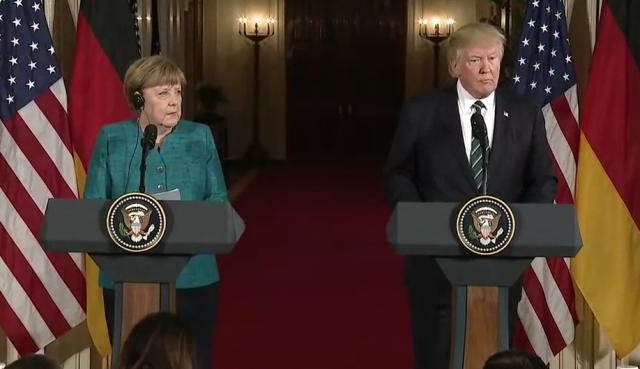 Совместная конференция Ангелы Меркель и Дональда Трампа в Белом доме. Вашингтон. 2017