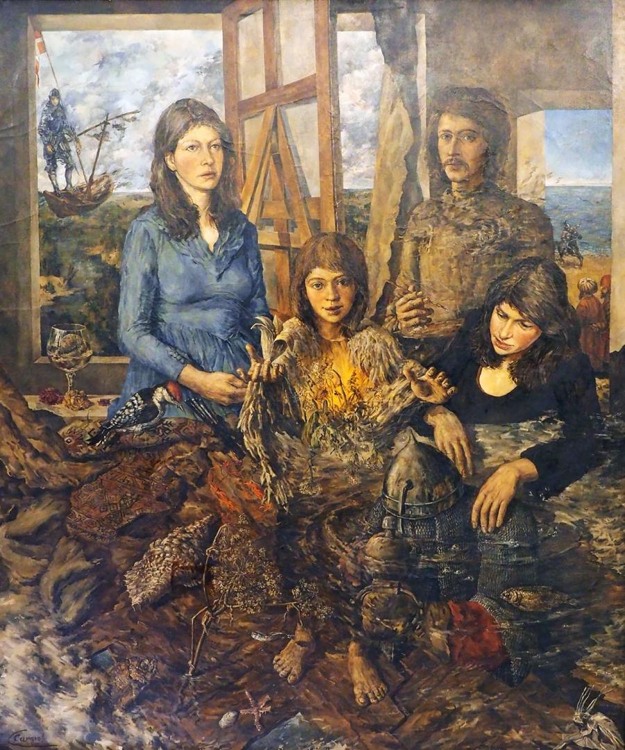 «Балкон». 1978. На картине — сам художник, его жена в двух образах и дочь