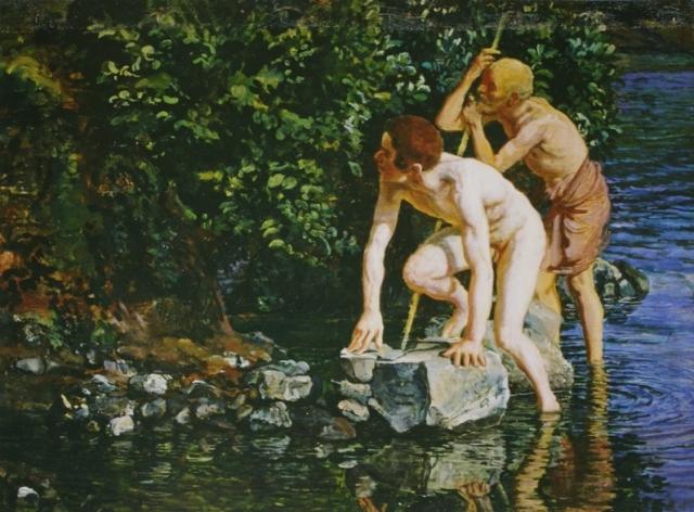 Александр Иванов. Старик, опирающийся на палку, и мальчик, выходящий из воды. Вторая половина 1830-х — 1840-е