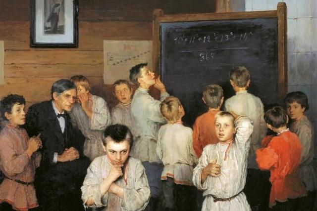 Николай Богданов-Бельский. Устный счёт. В народной школе С.А.Рачинского (фрагмент). 1895