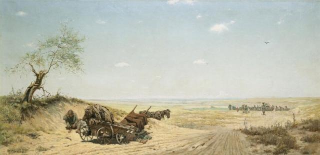 Григорий Мясоедов. Через степь. Переселенцы. 1883