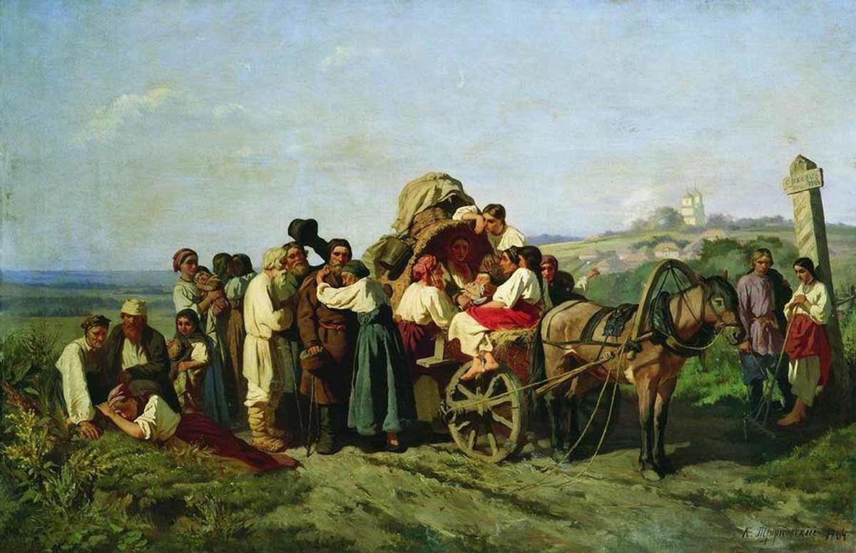 Константин Трутовский. Переселенцы из Курской губернии. 1864
