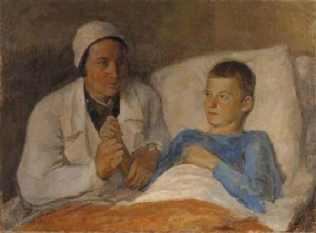 Татьяна Гиппиус. Военврач с мальчиком. 1930