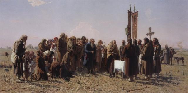 Григорий Мясоедов. Молебен во время засухи. 1880