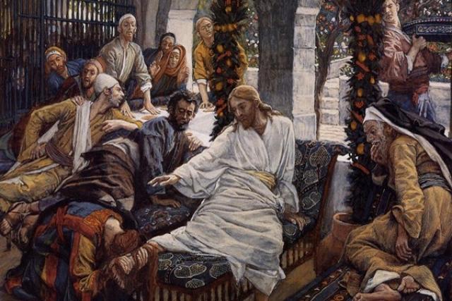 Джеймс Тиссо. Иисус в Вифании (у Симона)