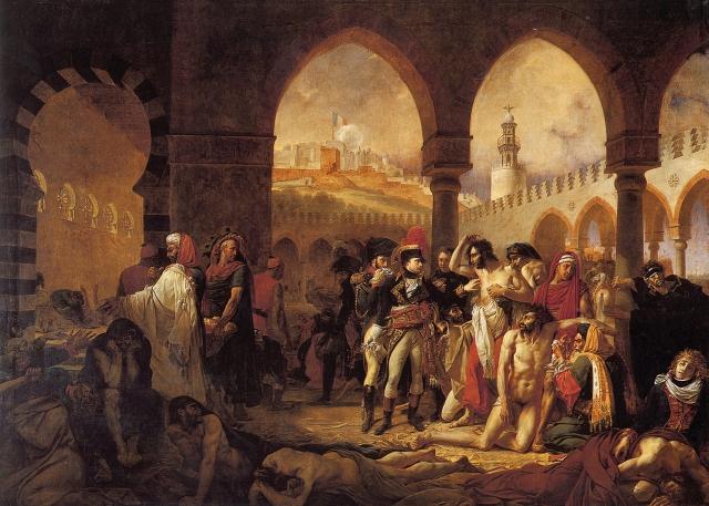 Антуан Жуан Гро. Наполеон навещает больных чумой в Яффе.1804