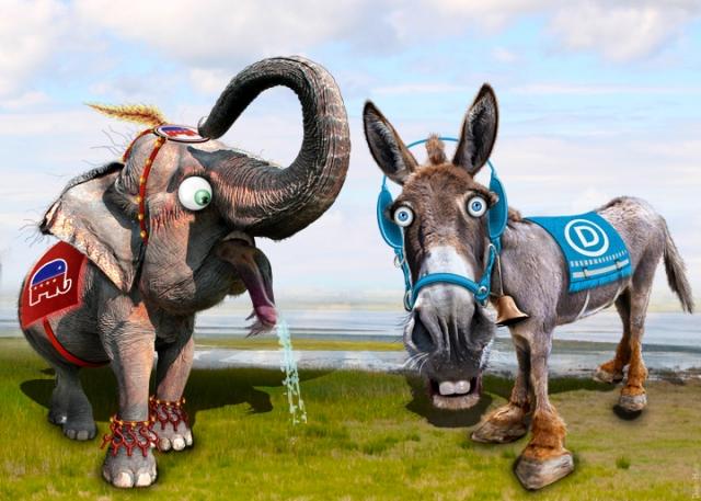 Карикатура Демократ Ослик & Республиканец Слон
