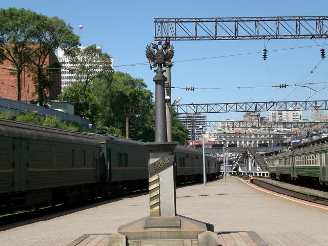 Километровый железнодорожный столб во Владивостоке
