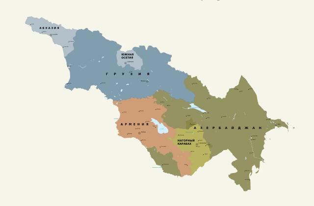 Страны Закавказья на карте мира