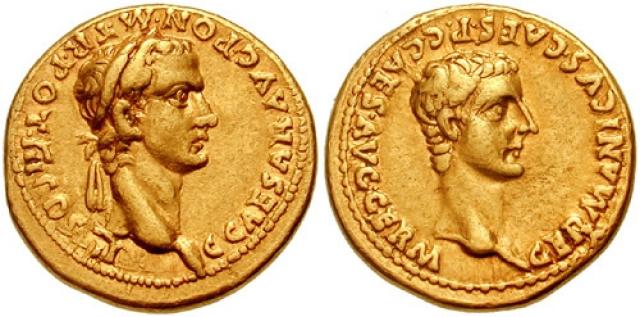 Золотой ауреус с портретами Калигулы в лавровом венке и Германика. Аверс (слева) и реверс (справа). 40 год н. э.
