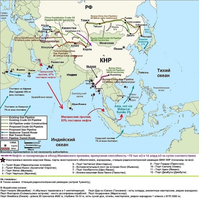 Размещение иностранных военно-морских баз, аэродромов, пунктов снабжения, разведки и др. ВМФ Китая