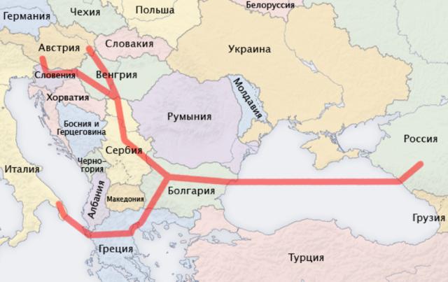 """Первоначальный маршрут несостоявшегося газопровода """"Южный поток"""""""