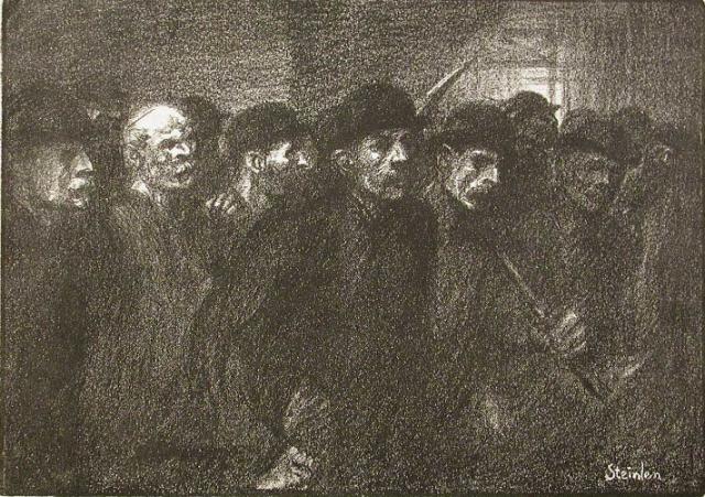 Теофиль-Александр Стейнлен. Рабочие, покидающие фабрику. 1897
