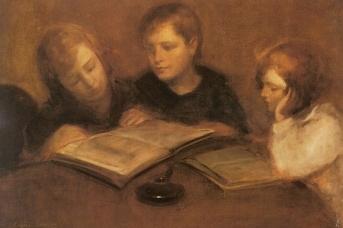 Эжен Каррьер. Девочки за чтением
