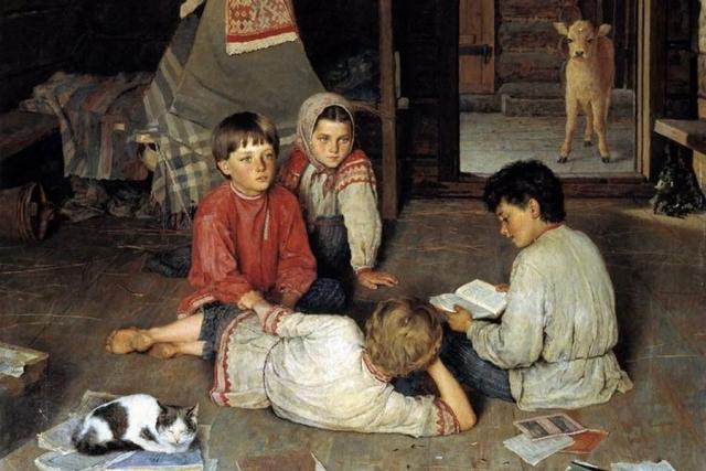 Николай Богданов-Бельский. Новая сказка (фрагмент). 1891