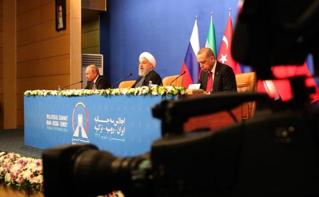 Пресс-конференция по итогам встречи лидеров России, Ирана и Турции