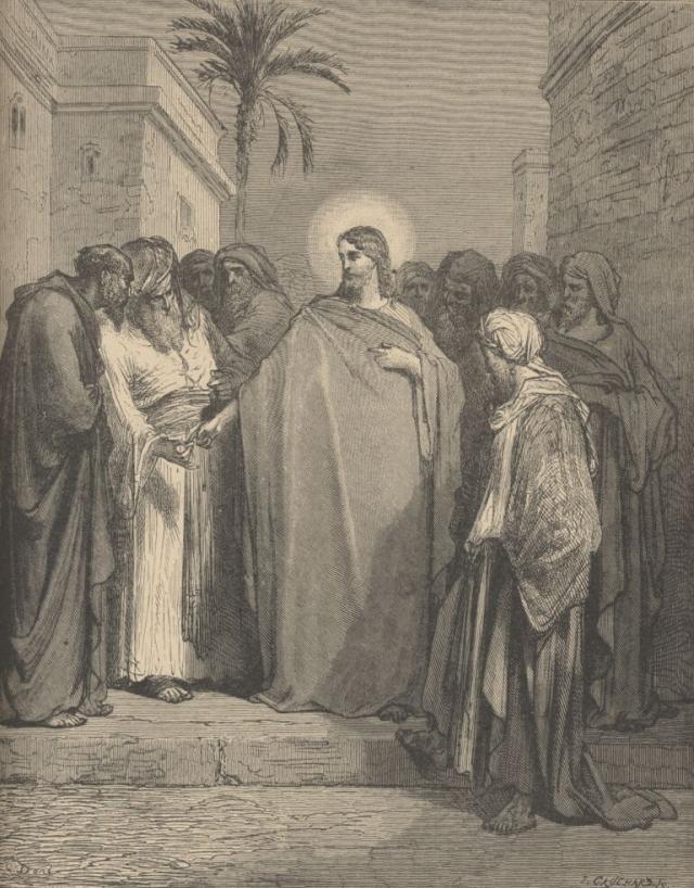 Гюстав Доре. Спор Христа с фарисеями. 1866