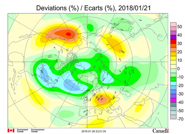Рис. 6. Аномалии общего содержания озона в Северном полушарии 21 января 2018 г