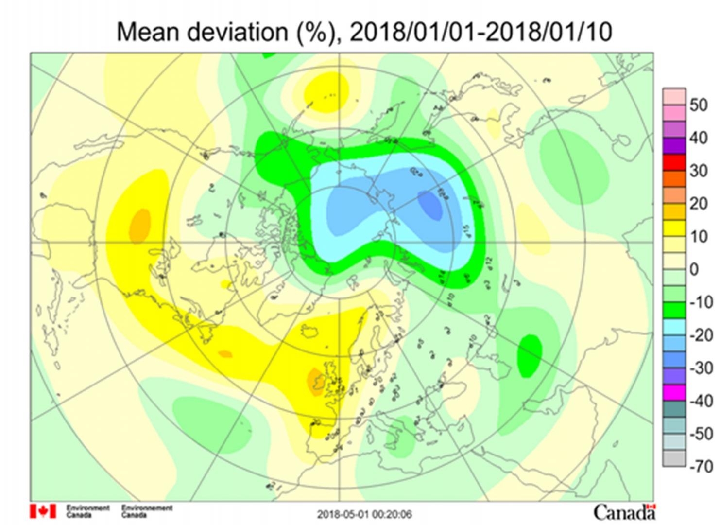 Рис. 1. Среднедекадные (1–10 января 2018 г.) аномалии общего содержания озона в Северном полушарии