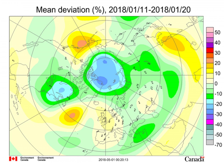 Рис. 2. Среднедекадные (11–20 января 2018 г.) аномалии общего содержания озона в Северном полушарии