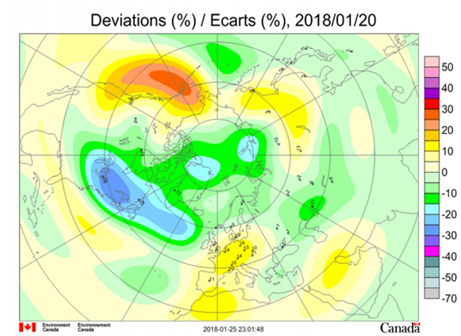 Рис. 3. Аномалии общего содержания озона в Северном полушарии 20 января 2018 г