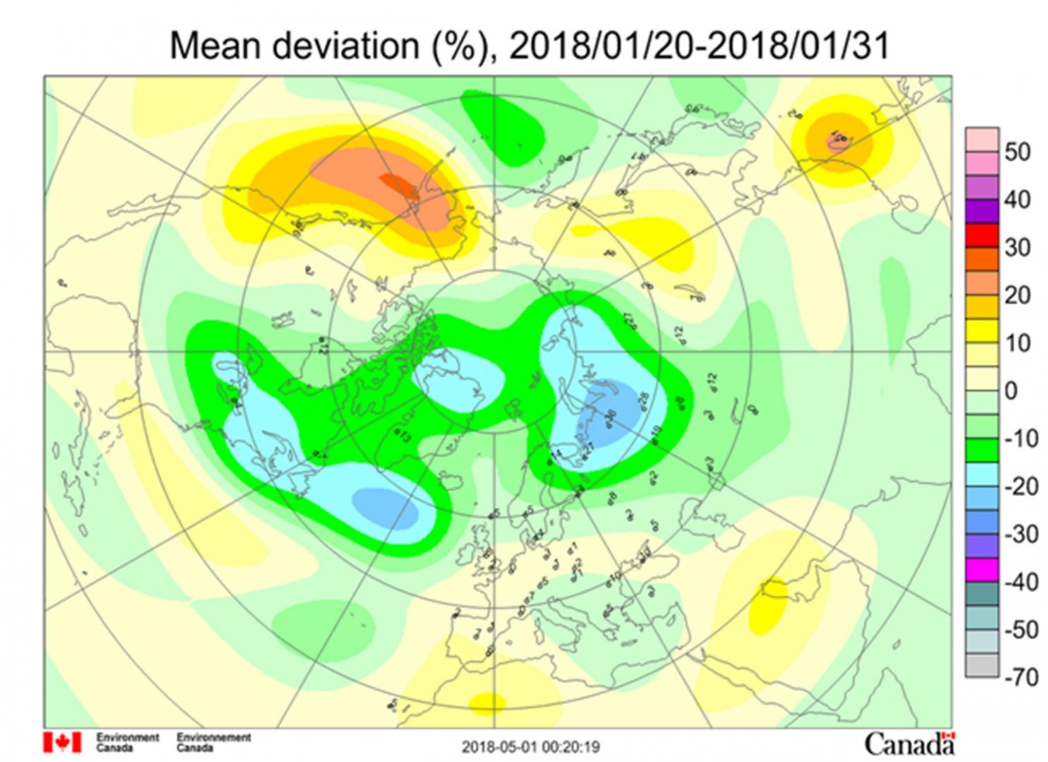 Рис. 4. Среднедекадные (21–31 января 2018 г.) аномалии общего содержания озона в Северном полушарии