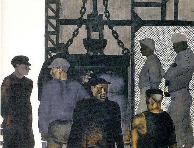 Александр Дейнека. Перед спуском в шахту (фрагмент). 1925