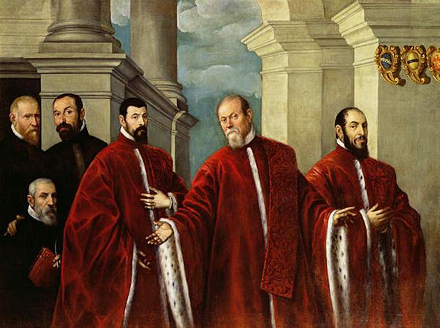 Доменико Робусти Тинторетто. Портрет трех юристов и нотариусов. 1623