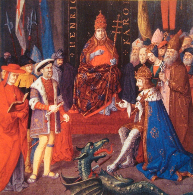 Генрих VIII (слева) с Карлом V (справа) и папой Львом X (в центре).1520