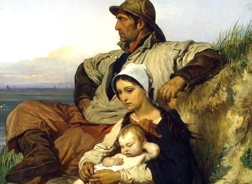 Луи Галле. Семья рыбака (фрагмент). 1848