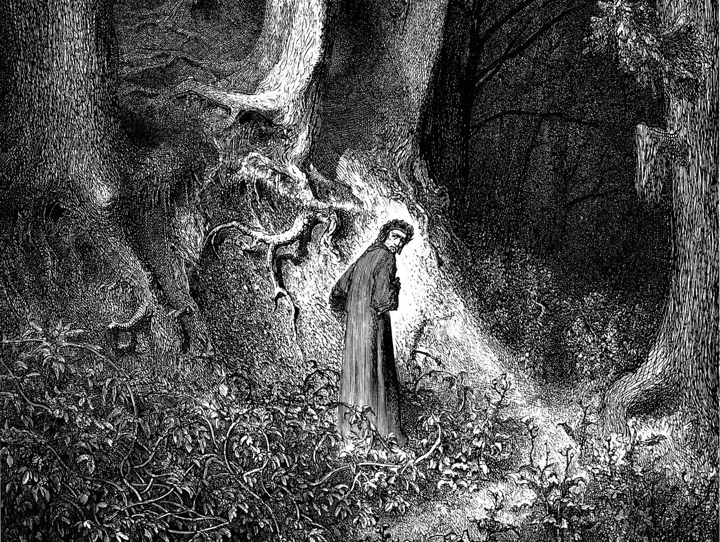 Гюстав Доре. Земную жизнь пройдя до половины, я очутился в сумрачном лесу (иллюстрация к «Аду» Данте Алигьери)