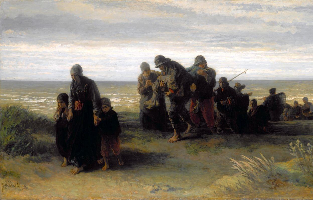 Йозеф Исраэлс. Рыбаки несут утопленника (фрагмент)