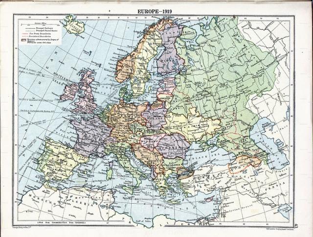 Республика Армения на карте Европы. 1919 год