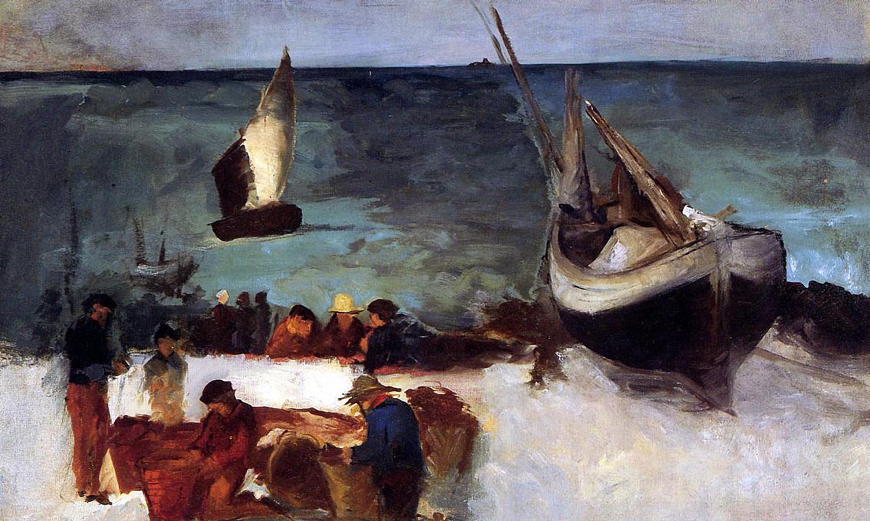 Эдуард Мане. Морской пейзаж в Берк, Рыбацкие лодки и Рыбаки. 1873