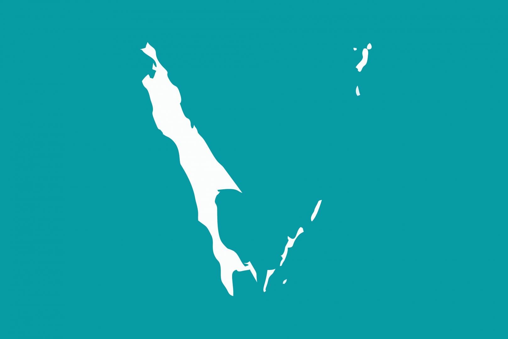 Флаг Сахалинской области России с Курильскими островами